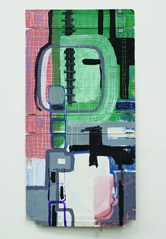 acrylic painting of grids and graffiti on cardboard by Jay Hendrick