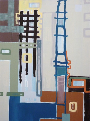 acrylic painting of grids and street art on canvas by Jay Hendrick