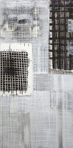 black and white charcoal and acrylic painting of grids on wood by Jay Hendrick