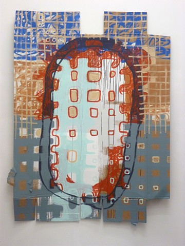 acrylic painting of grids and street art on cardboard by Jay Hendrick