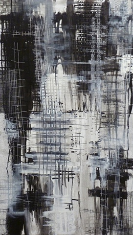 charcoal and acrylic painting of grids on wood by Jay Hendrick