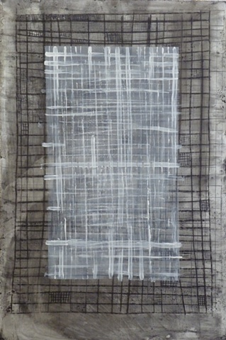black and white painting of grids on wood by Jay Hendrick