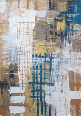 acrylic painting of grids on paper by Jay Hendrick