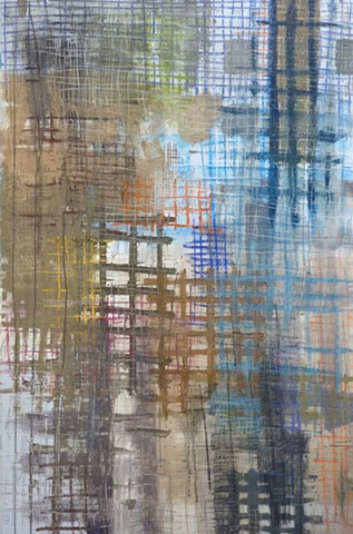 acrylic painting of grids on wood by Jay Hendrick