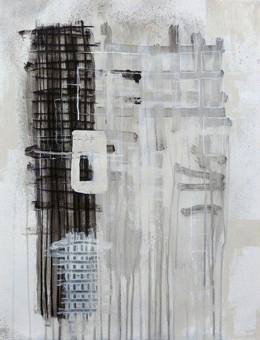 black and white charcoal and acrylic painting of grids on paper by Jay Hendrick