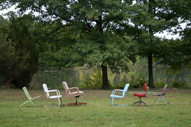 chairs, art, site specific sculpture