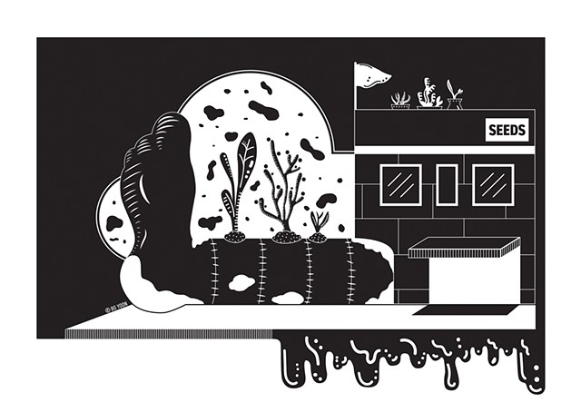 Black and white digital art of dusty fever series life growing out of death by illustrator and artist Bo Yoon