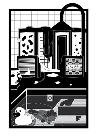 Black and white digital art of dusty fever series electric bath by illustrator and artist Bo Yoon