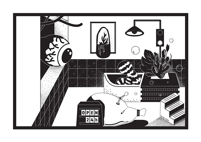 Black and white digital art of dusty fever series have a bath by illustrator and artist Bo Yoon