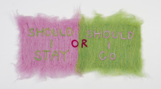 Colourful needle felt patches fiber text work installation art of my bed by illustrator and artist Bo Yoon at the School of the Art Institute of Chicago SAIC Fall BFA show