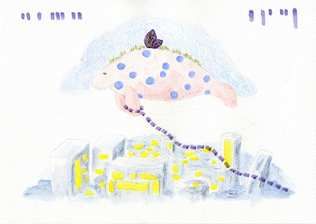 Untitled (Manatee with the purple chain)