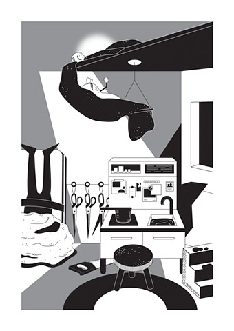 Black and white digital art of dusty fever series cooking inside of you by illustrator and artist Bo Yoon