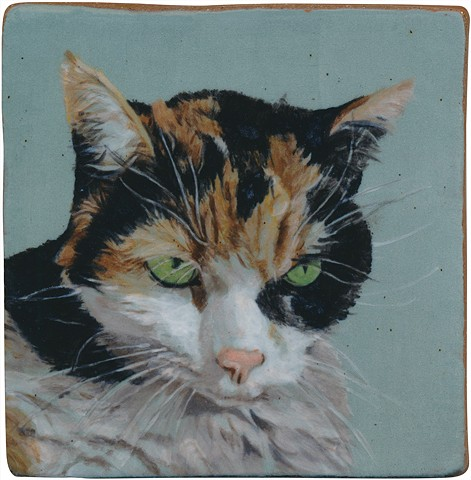 Ceramic handmade and hand painted tile of a cat named Beatrice, by Chantelle Norton.