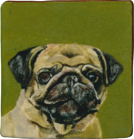 Ceramic handmade tile, hand painted with underglazes, high-fired, dog portrait of a Pug by Chantelle Norton.