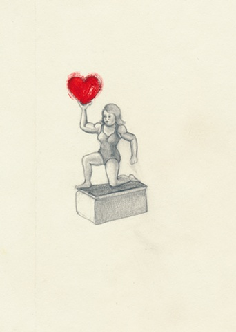 Pencil Drawing on paper of a toy girl wrestler with a heart by artist Chantelle Norton.