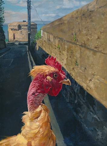 Transylvanian naked neck chicken in Irish landscape with a Martello Tower by Chantelle Norton.