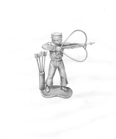 Pencil Drawing on paper of a toy soldier with a bow and arrow in shape of a heart by artist Chantelle Norton.