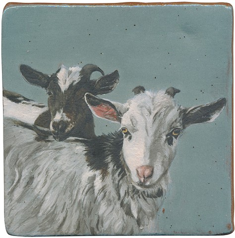 Ceramic handmade and hand painted tile of two goats named Nigel and Teardrop, by Chantelle Norton.