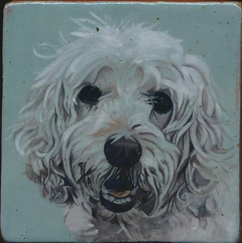 Handmade tile, hand painted with underglazes, high-fired, dog named Roxie by Chantelle Norton.