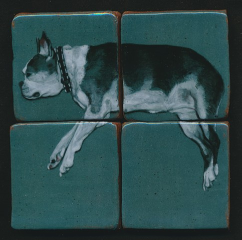 Ceramic handmade tiles, hand painted with underglazes, high-fired, dog portrait of a Boston Terrier by Chantelle Norton.