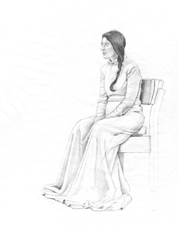 Pencil drawing on paper of the artist Marina Abramovic at MoMA by Chantelle Norton.