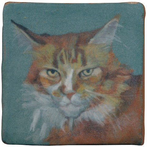 Ceramic handmade tile, hand painted with underglazes, high-fired, cat portrait of a Maine Coon by Chantelle Norton.