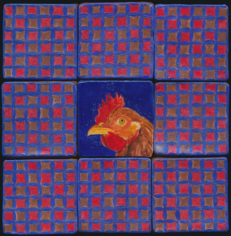 Ceramic handmade tile, hand painted with underglazes, high-fired, chicken portrait and pattern tiles by Chantelle Norton.
