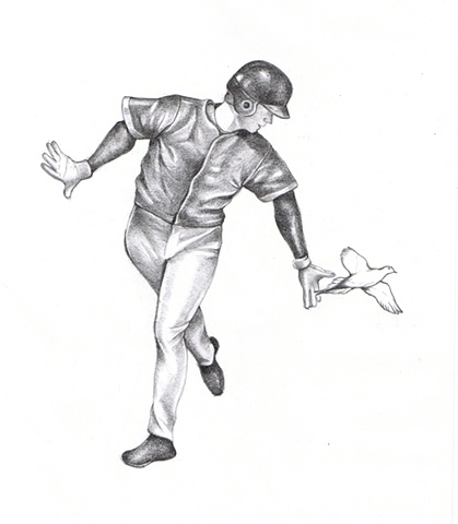 Pencil drawing on paper of a baseball player with a dove bird by Chantelle Norton.