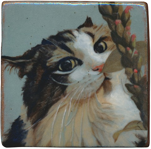 Ceramic handmade tile, hand painted with underglazes, cat portrait by Chantelle Norton.