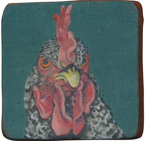 Ceramic handmade tile, hand painted with underglazes, high-fired, chicken portrait by Chantelle Norton.