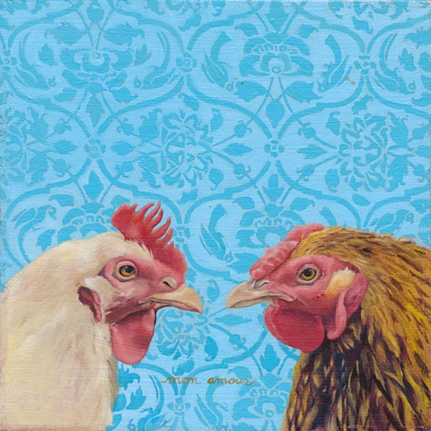 Oil on canvas of two chickens, wallpaper background.