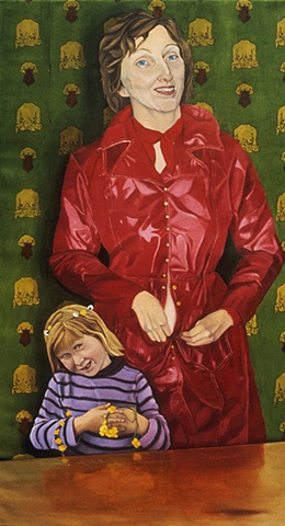 Oil painting on canvas of a mother in red raincoat and little girl with surreal wallpaper background by artist Chantelle Norton.