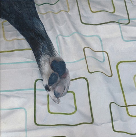 Oil painting of a dog paw on a geometric pattern by Chantelle Norton.