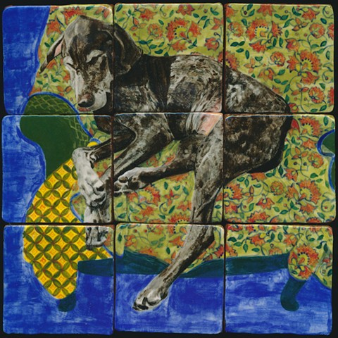 Custom ceramic handmade tiles, hand painted with underglazes, high-fired, dog portrait with intricate pattern detail by Chantelle Norton.