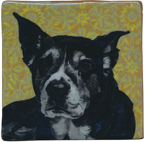Ceramic handmade and handpainted tile of a black dog named Callie, by Chantelle Norton.