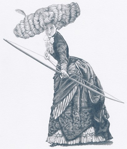 Pencil drawing of the goddess Artemis in Victorian dress and elaborate hair style by Chantelle Norton.