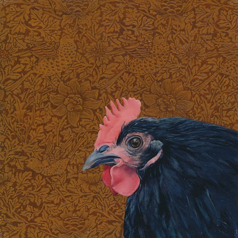 Black chicken oil painting, patterned wallpaper background, by artist painter Chantelle Norton
