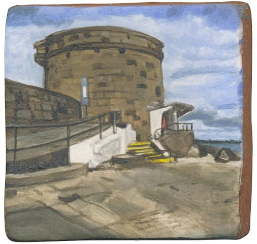 Ceramic handmade tile, hand painted with underglazes, high-fired, landscape of Martello Tower at Seapoint, Dublin, Ireland by Chantelle Norton.