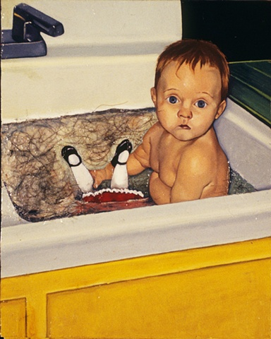 Oil painting with hair on panel of a baby in sink by artist Chantelle Norton.