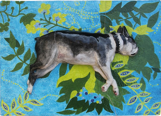 Ceramic porcelien bas relief sculpture of a Boston Terrier dog on pattern rug by Chantelle Norton.