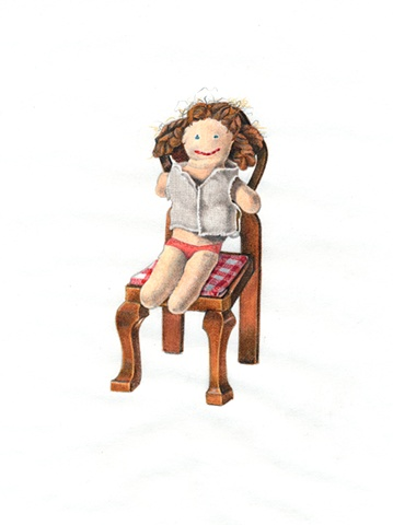 Drawing on paper of doll in chair by Chantelle Norton.