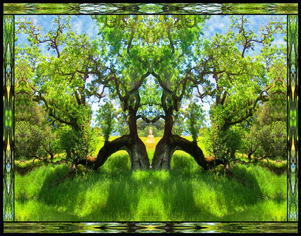 meditation in the meadow, heart-shaped trees, buddha, splendor, perfected being, opens our hearts to all of creation