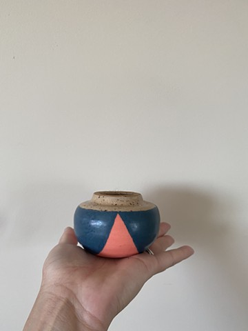 teal and coral vase