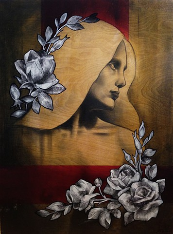 mary, virgin mary, floral, graphite on wood, shellac