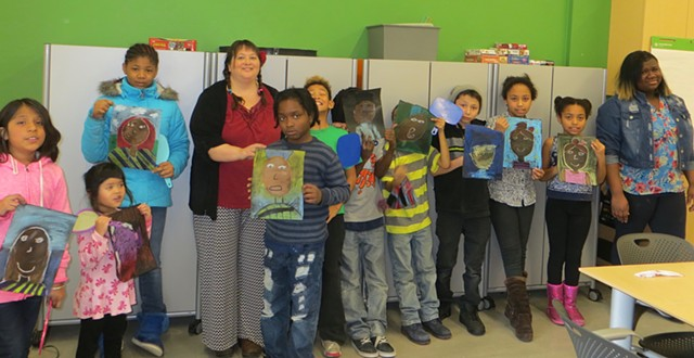 Me and my amazing students with their self-portraits