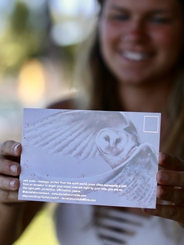 pueo postcard - back