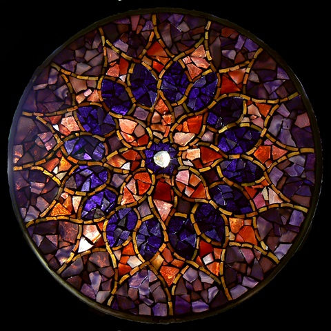 Stained Glass Mosaic Mandala Dusky Sun by David Chidgey
