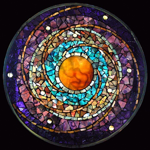 Stained Glass Mosaic Mandala Celestial Clockwork by David Chidgey