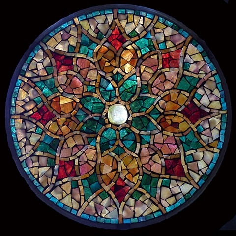 "Autumn Star - Sold Stained Glass Mosaic 10"" diameter"