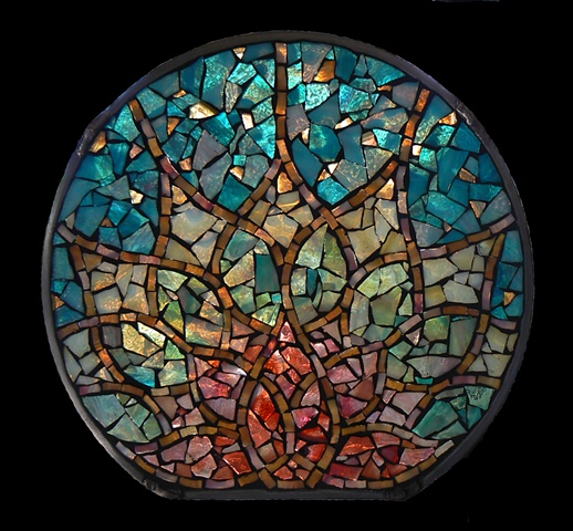 Stained Glass Mosaic Mandala Lotus Rising by David Chidgey